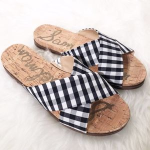 Sam Edelman Hattie Crisscross Slide Sandal B&W